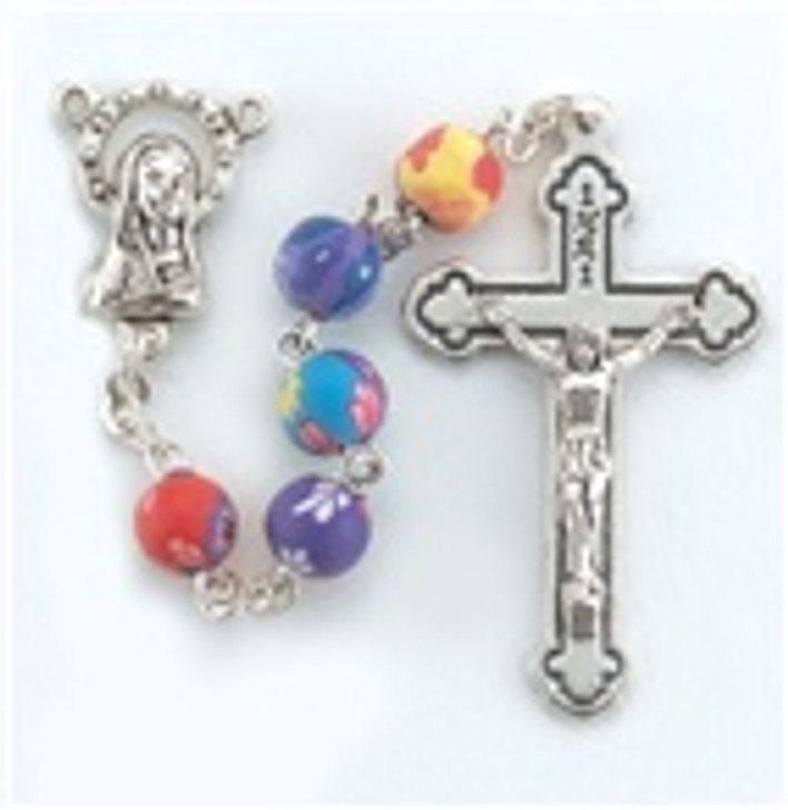 1702-8 ROUND FLORAL MULTI COLOR BEAD ROSARY