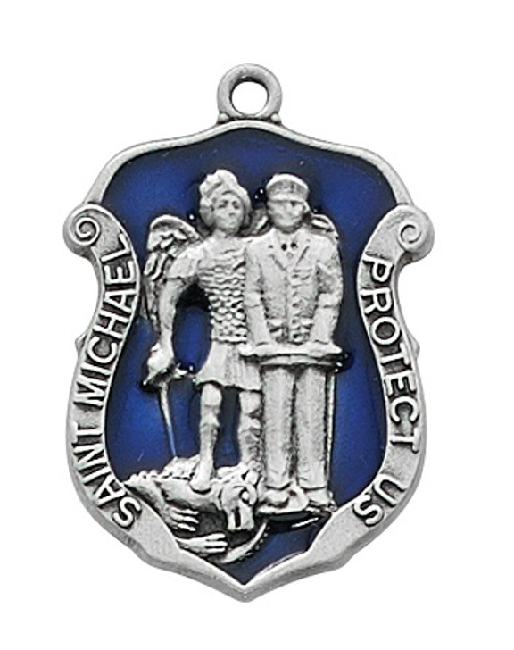 """(D758) PEWTER ST MICHAEL MEDAL 24"""" CH"""