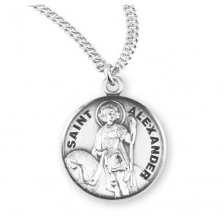 Patron Saint Alexander Round Sterling Silver Medal S950520