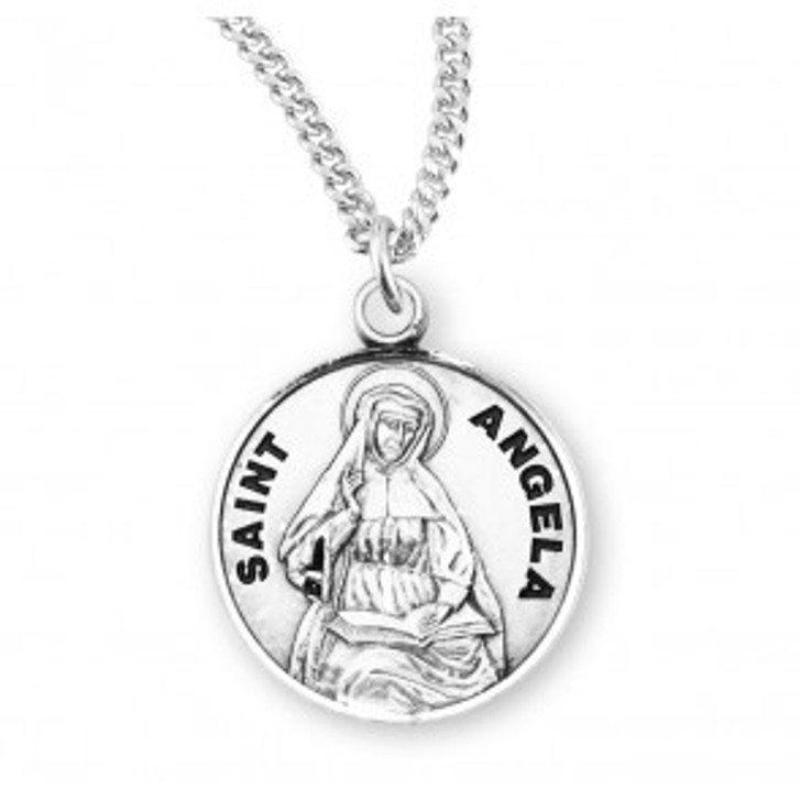 Patron Saint Angela Round Sterling Silver Medal S970718