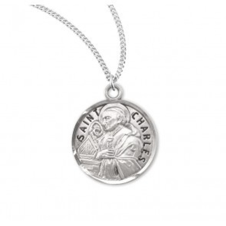 Patron Saint Charles Round Sterling Silver Medal S953220