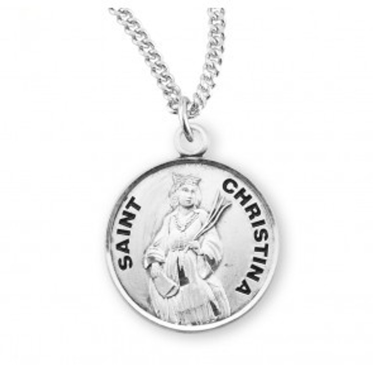 Patron Saint Christina Round Sterling Silver Medal S972118