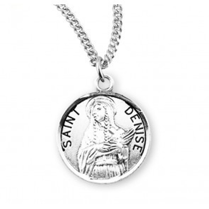 Patron Saint Denise Round Sterling Silver Medal S972718