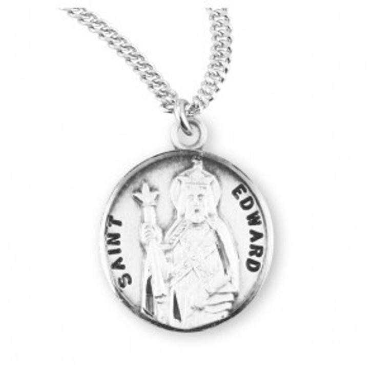 Patron Saint Edward Round Sterling Silver Medal S954620