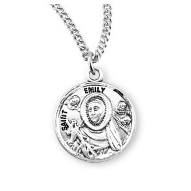 Patron Saint Emily Round Sterling Silver Medal S973218