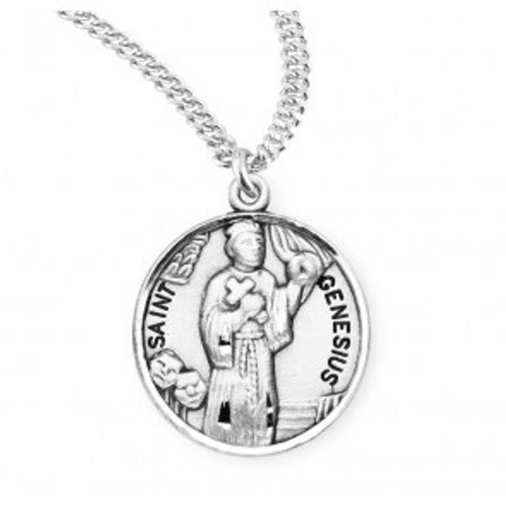 Patron Saint Genesius Round Sterling Silver Medal S956020