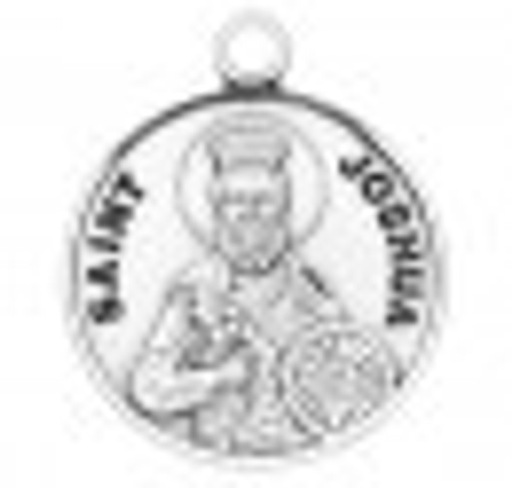 Patron Saint Joshua Round Sterling Silver Medal S9597_1