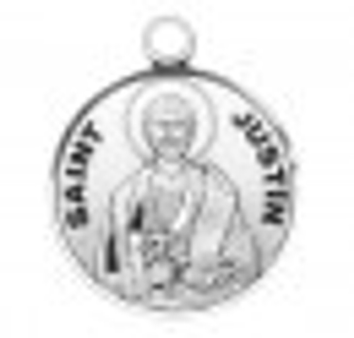 Patron Saint Justin Round Sterling Silver Medal S9601_1