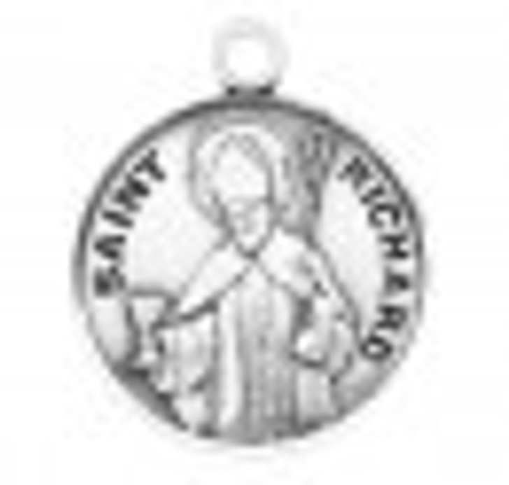 Patron Saint Richard Round Sterling Silver Medal S9641_1