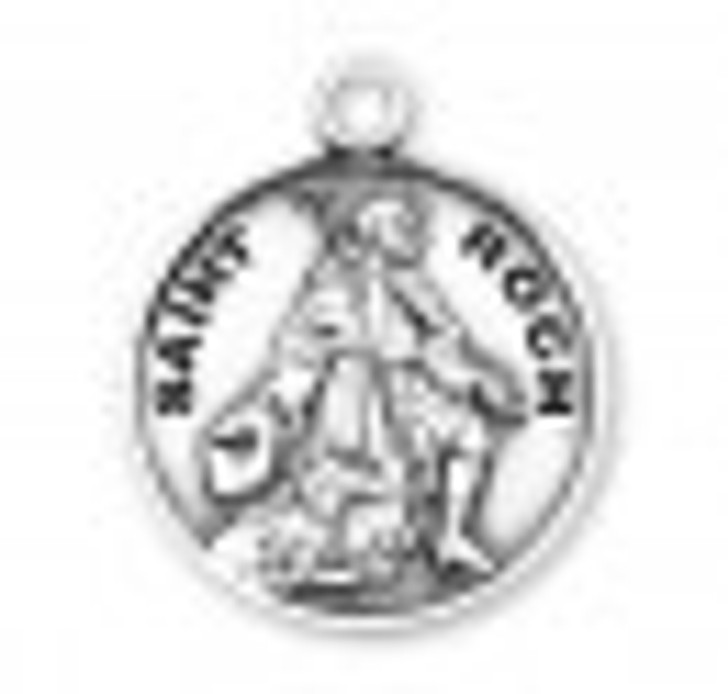 Patron Saint Roch Round Sterling Silver Medal S9643