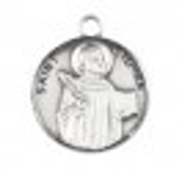 Patron Saint Stephen Round Sterling Silver Medal S9649_1