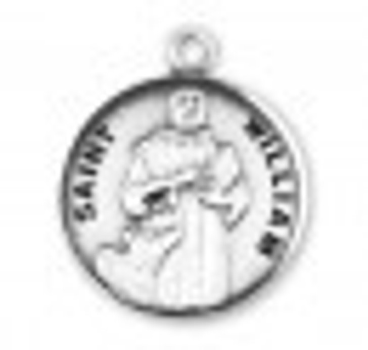 Patron Saint William Round Sterling Silver Medal S9663_1