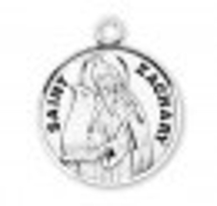 Patron Saint Zachary Round Sterling Silver Medal S9665_1
