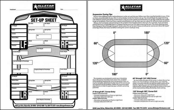 Circle Track Set Up Sheets ALL045 Allstar Performance