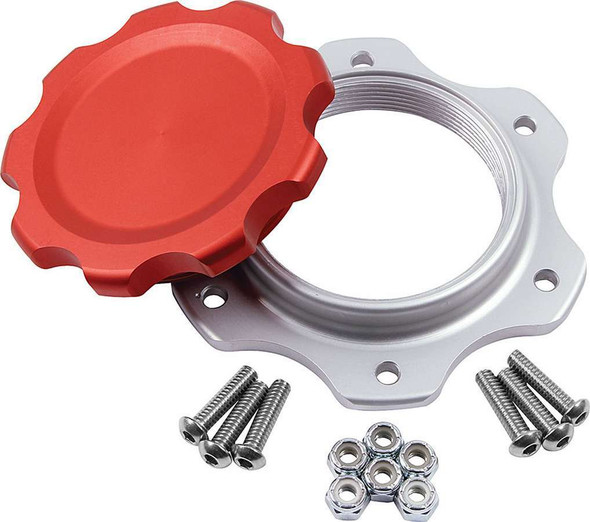 Fuel Cell Cap and Bung JAZ 6-Bolt Red ALL40134 Allstar Performance