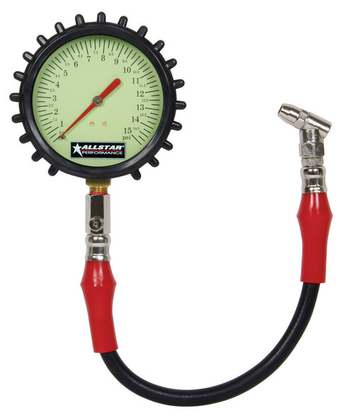 Tire Pressure Gauge 0-15 PSI 4in Glow ALL44046 Allstar Performance
