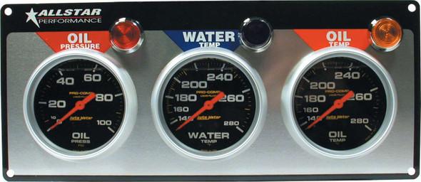 3 Gauge Panel A/M OP/WT/OT Liquid Filled ALL80122 Allstar Performance