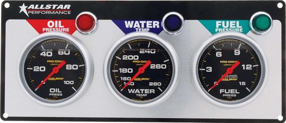 3 Gauge Panel A/M OP/WT/FP Liquid Filled ALL80123 Allstar Performance