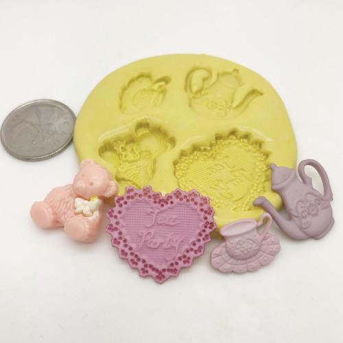 Tea Party Bear Set Silicone  mold