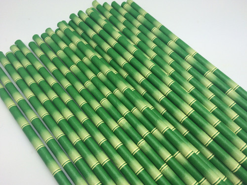 25pc Paper Straws Bamboo