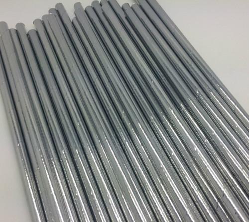 25pc Paper Straws Silver Metallic Straws