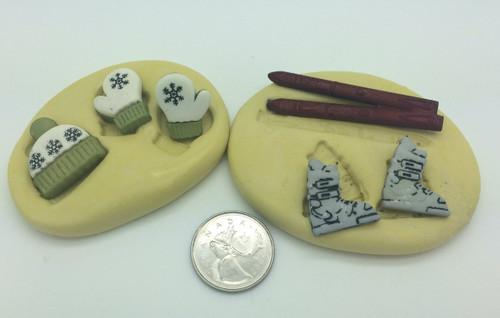 Ski Boots Mittens and Hat Mold Set