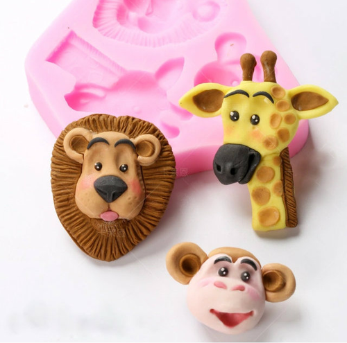 Animal Lion , Giraffe and Monkey  3 cavity Silicone Mold  PM117