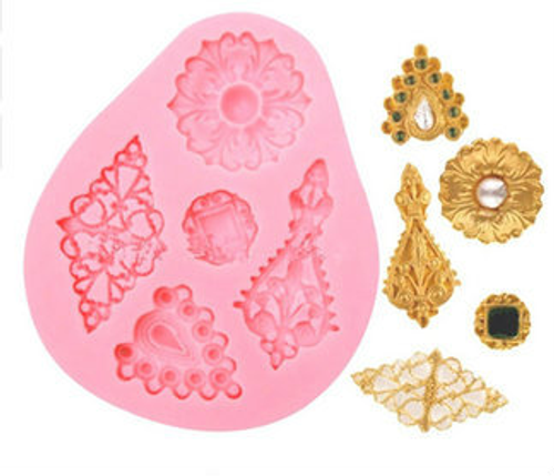 Brooch 4 cavity accent Mold  Silicone Mold -P163