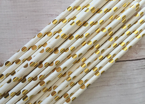 Gold and White poka a dot  Straws