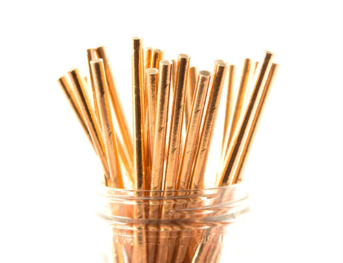 25pc Paper Straws Rose Gold