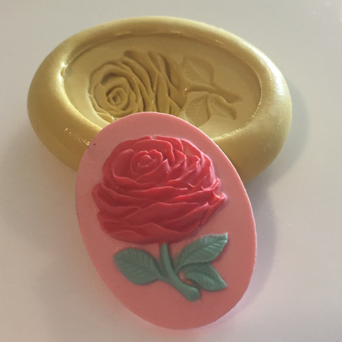 Rose Flower with stem  Cameo Silicone Mold