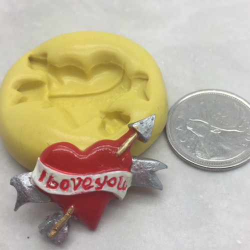 Heart  with Arrow Silicone Mold