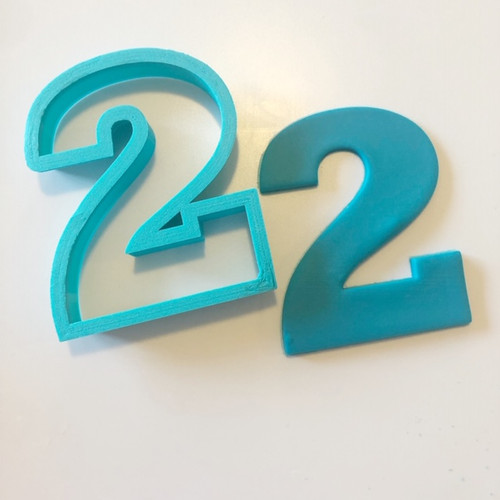 """Number two 2  Large 4"""" Cookie/ Fondant cutter"""