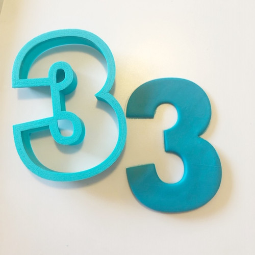 """Number Three  3  Large 4"""" Cookie/ Fondant cutter"""
