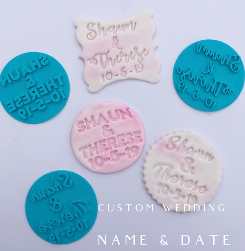 Custom Wedding Name and Date  Fondant /Cookie Embosser