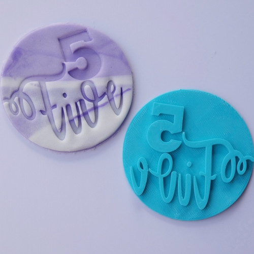 Number 5 Five  Fondant /Cookie Embosser