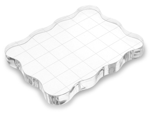 """Clear Acrylic Stamp Block  w/Grids 3.5"""""""
