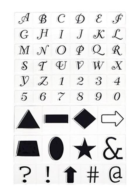 LetterScript Caps & Symbols clear stamps  1cm tall small