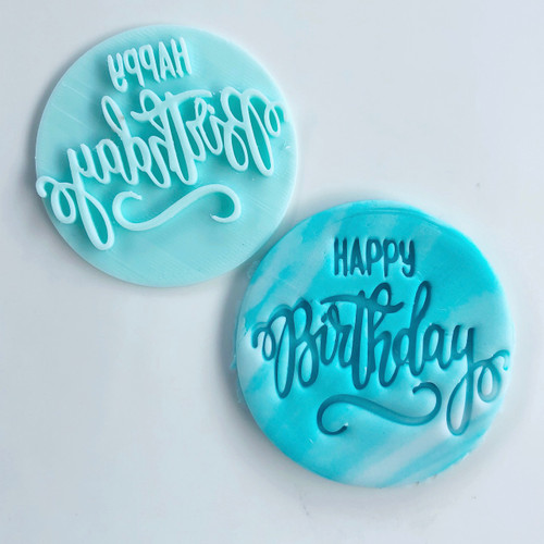 Happy Birthday  Fancy Fondant /Cookie Embosser