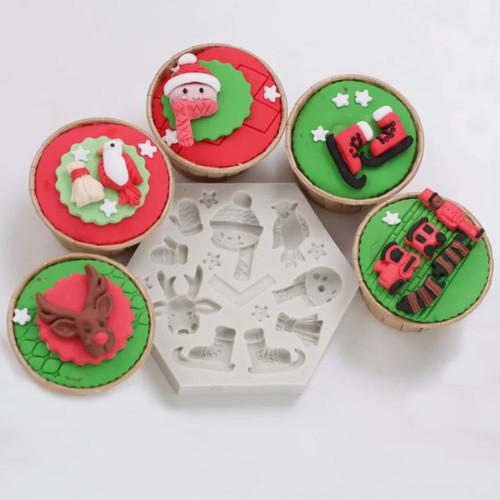 snowman mixed  Christmas silicone mold
