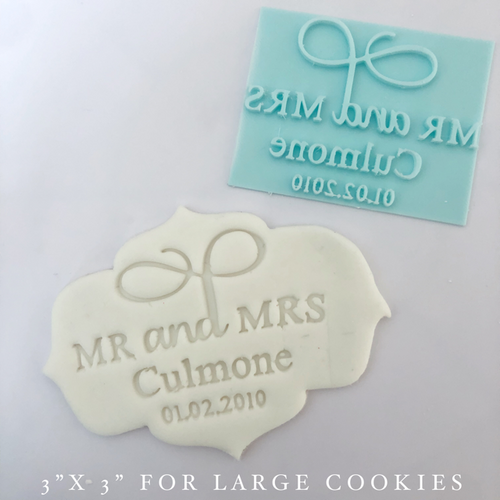 "Custom Wedding Fancy   Fondant /Cookie Embosser 3"" x 3"""