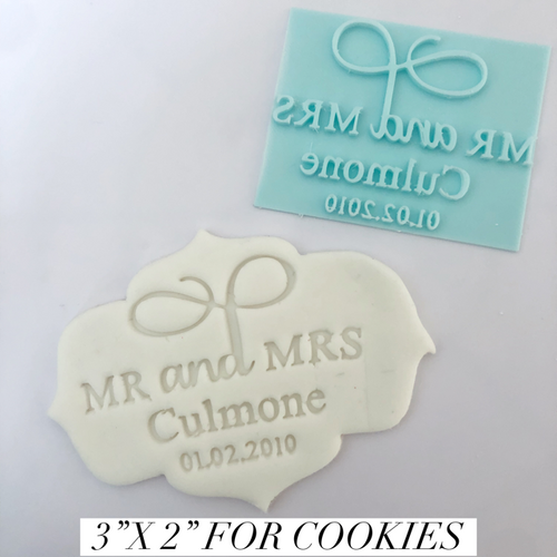 "Custom Wedding Fancy   Fondant /Cookie Embosser 3"" x 2"""