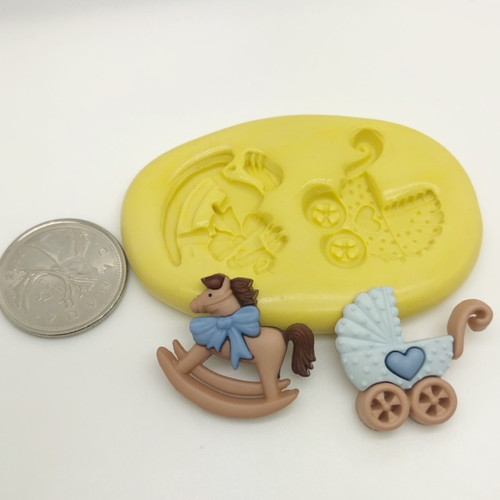 Baby Carriage and Horse Mold set  Silicone