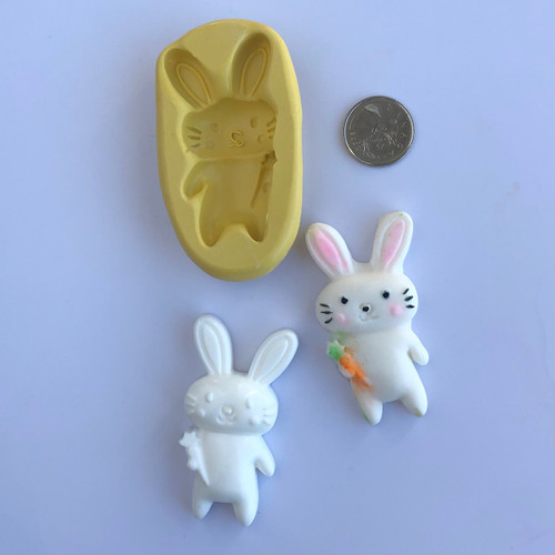 Bunny with Carrot   Silicone Mold with dots