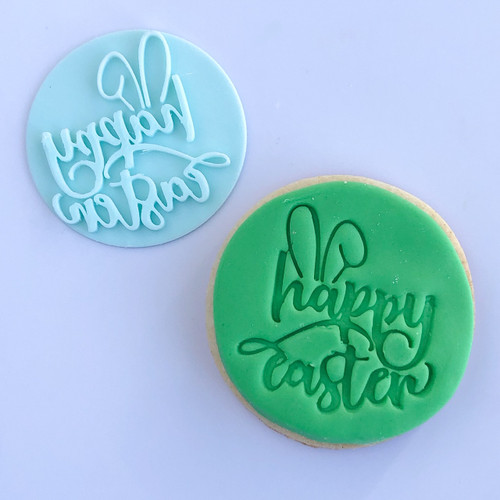 Happy Easter with ears Fondant /Cookie Embosser