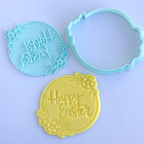 Happy Easter Wreath Cutter and  Embosser 4 inch Set