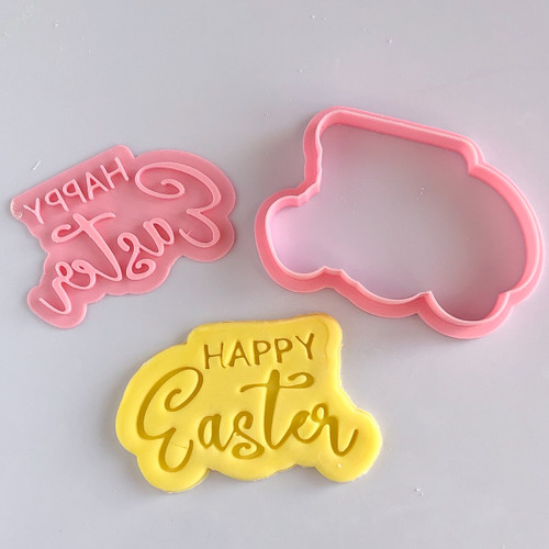 Happy Easter  Cookie cutter with stamp