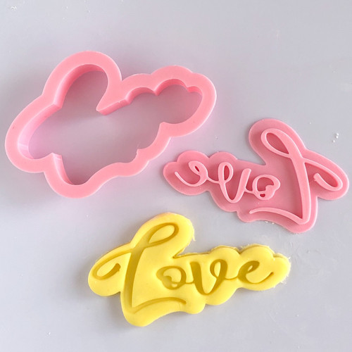 LOVE   Cookie cutter with stamp