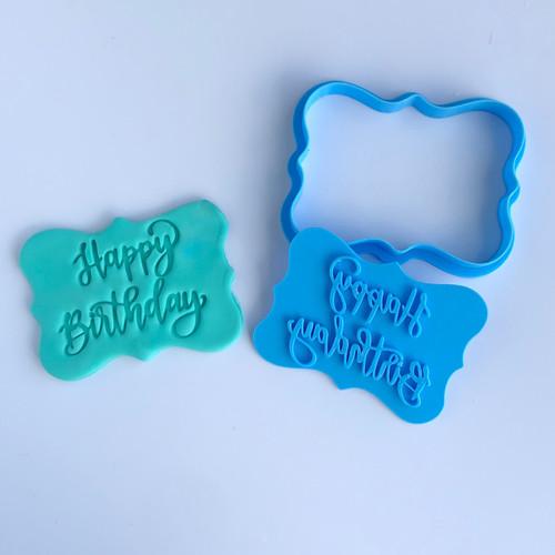 """Happy birthday plaque embosser cookie cutter set  3.5"""""""