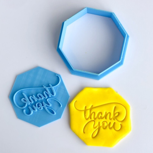 Thank you with Octagon cutter    Fondant /Cookie Embosser